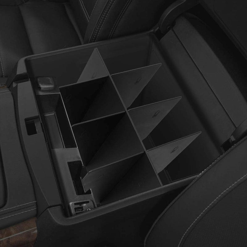 Black Center Console Organizer Insert Divider For 14-18 Silverado 1500/2500 HD-Interior-BuildFastCar