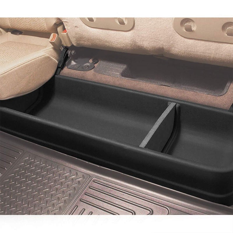 Black ABS Plastic Under Seat Cargo Storage For 09-14 Ford F-150 Super Crew Cab-Consoles & Parts-BuildFastCar