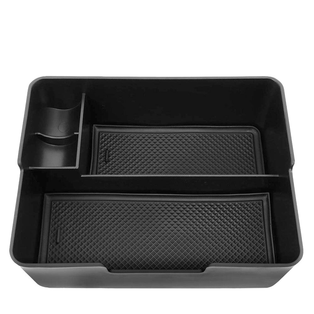 Black ABS Plastic/Silicone OE Center Console Organizer For 17-19 Tesla Model 3