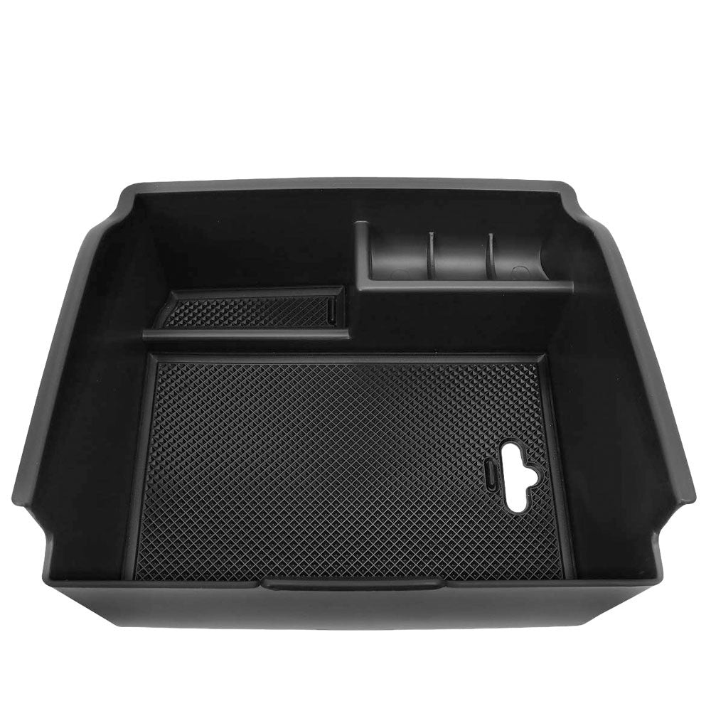 Black Plastic/Silicone OE Center Console Organizer For 16-19 Toyota Fortuner SW4-Consoles & Parts-BuildFastCar