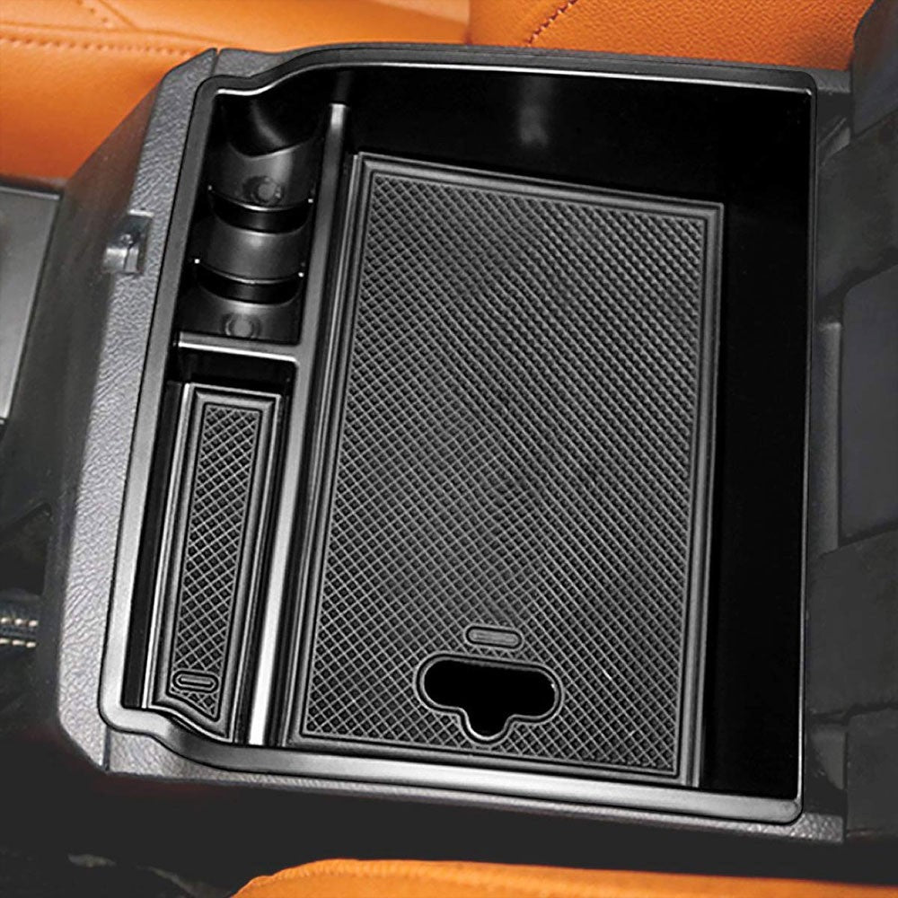 Black Plastic/Silicone OE Center Console Organizer For 16-19 Toyota Fortuner SW4