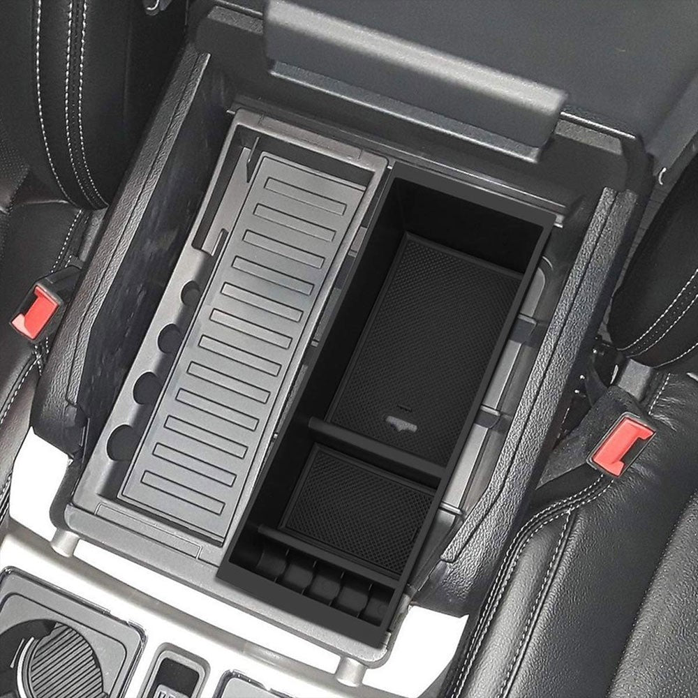 Black ABS Plastic/Silicone OE Center Console Organizer For 15-19 Ford F-150