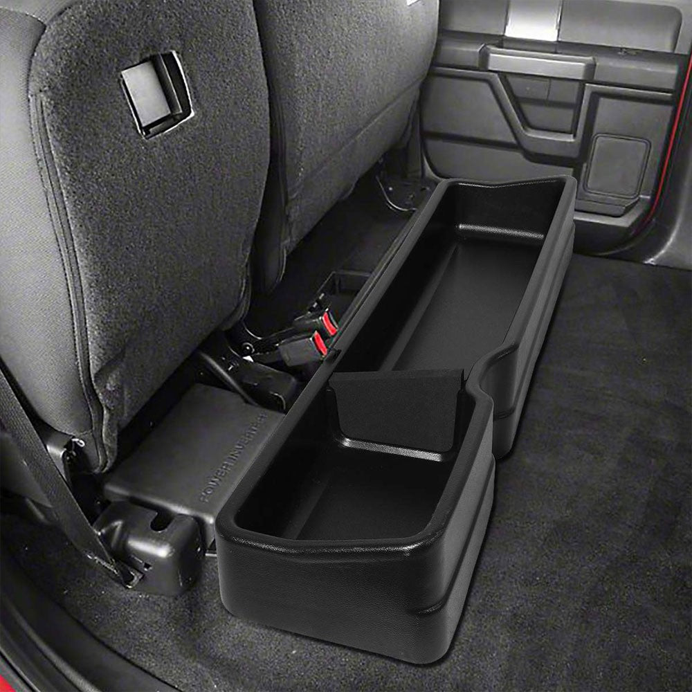Black ABS Plastic Under Seat Cargo Storage For 15-19 F-150 2.7L/3.0L/3.5L/5.0L