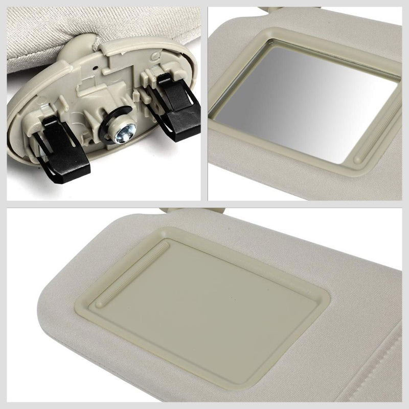 Beige Vinyl/Glass OE Factory Driver Sun Visor For 07-11 Toyota Camry 2.5L/3.5L-Consoles & Parts-BuildFastCar