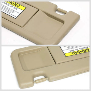 Beige Vinyl OE Factory Driver Sun Visor For 2006-2011 Honda Civic 1.3L/1.8L/2.0L-Consoles & Parts-BuildFastCar