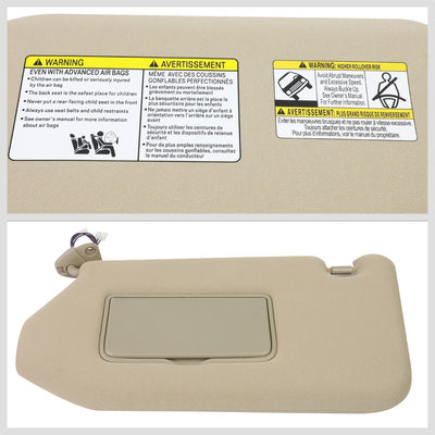 OE Style Left (Driver Side) Beige Sun Visor w/Vanity Light For 14-19 QX60