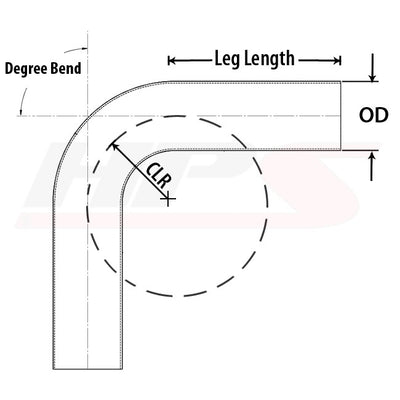 "HPS 2"" OD (51mm) 100 Degree Bend 16 Gauge Aluminum Tubing Elbow Pipe 2"" CLR"