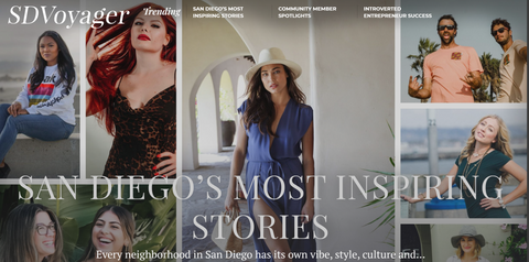 text reading San Diego's Most Inspiring Stories with images behind