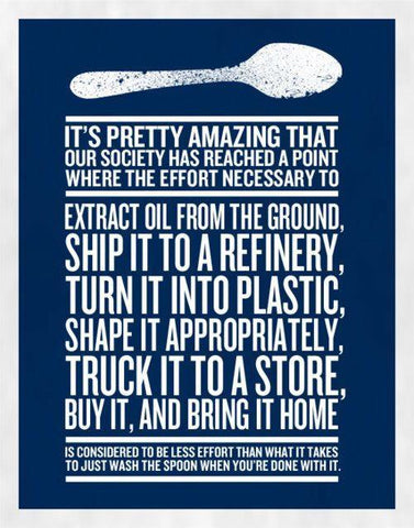 White text over a blue background talking about reusing cutlery instead of buying single use plastic