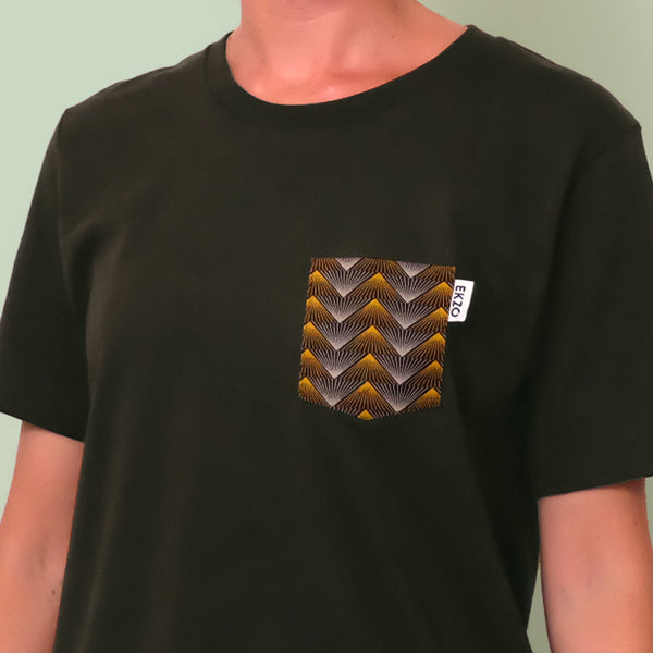 Close up of gold and gray patterned chest pocket on a dark green shirt