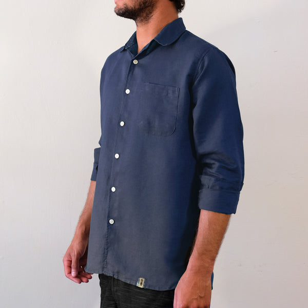 Linen Hemp Button Down Shirt - Aegean Blue - EKZO