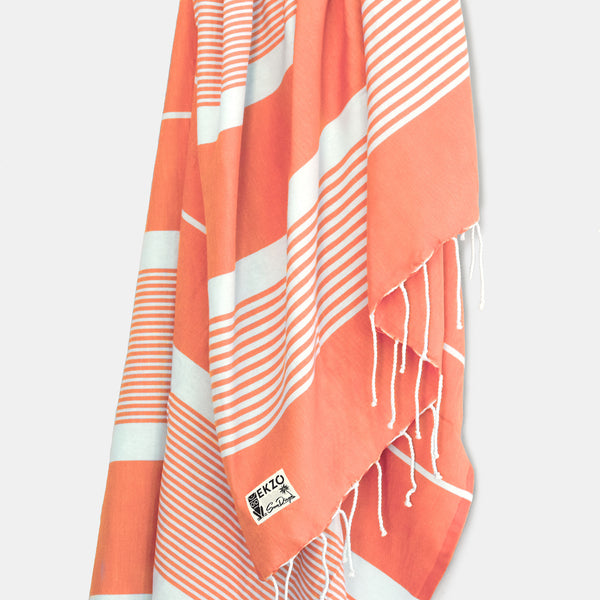 Coral Stripes - Beach Towel