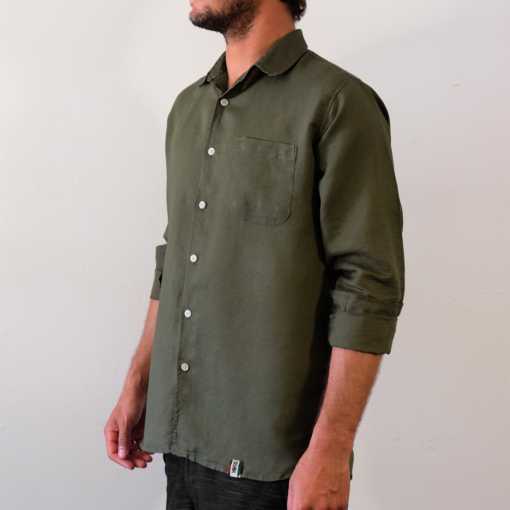 Linen Hemp Button Down Shirt - Olive - EKZO