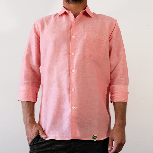 Linen Hemp Button Down Shirt - Pink - EKZO