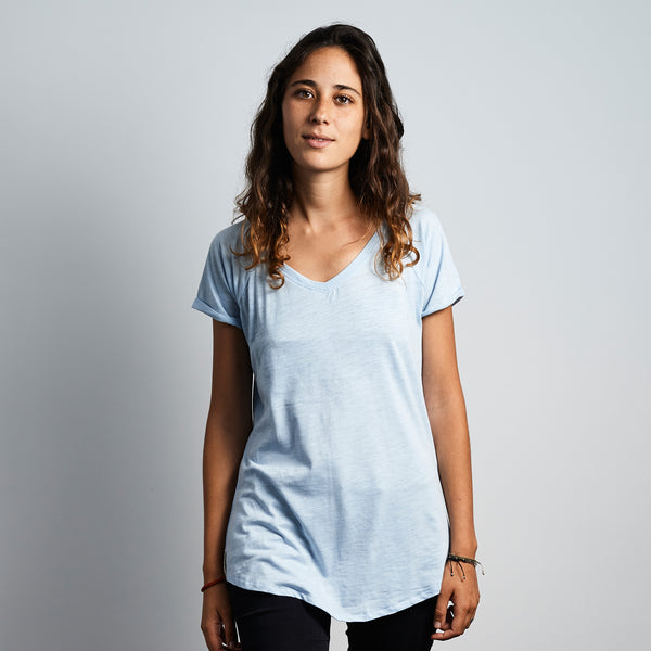 V- Neck Tee Wax Patch - Soft Blue - EKZO