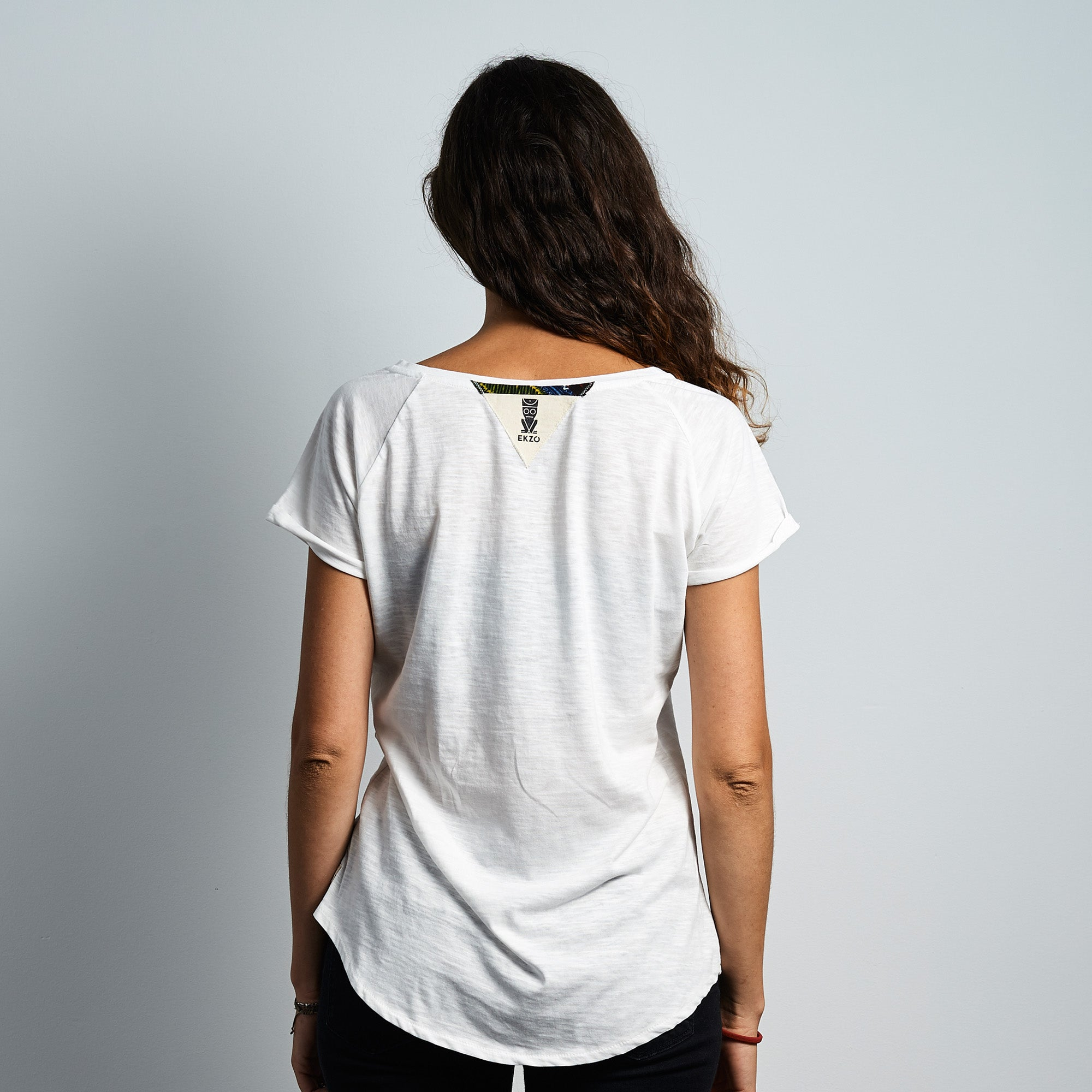 V- Neck Tee Wax Patch - Jasmine White - EKZO