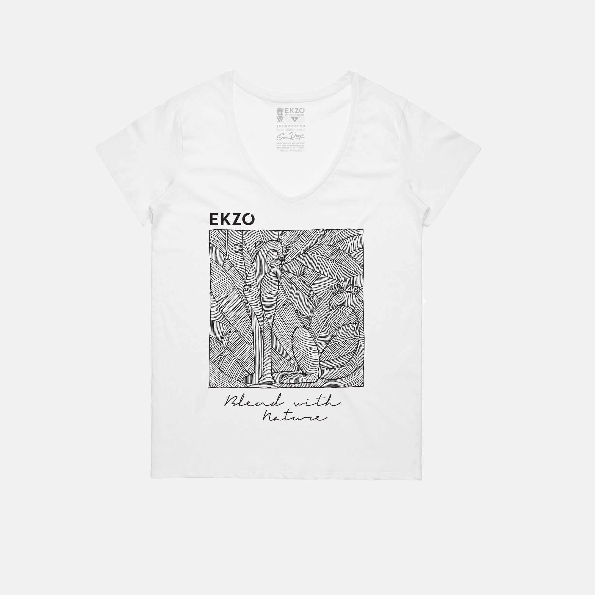 Blend with Nature T-shirt White V Neck - EKZO