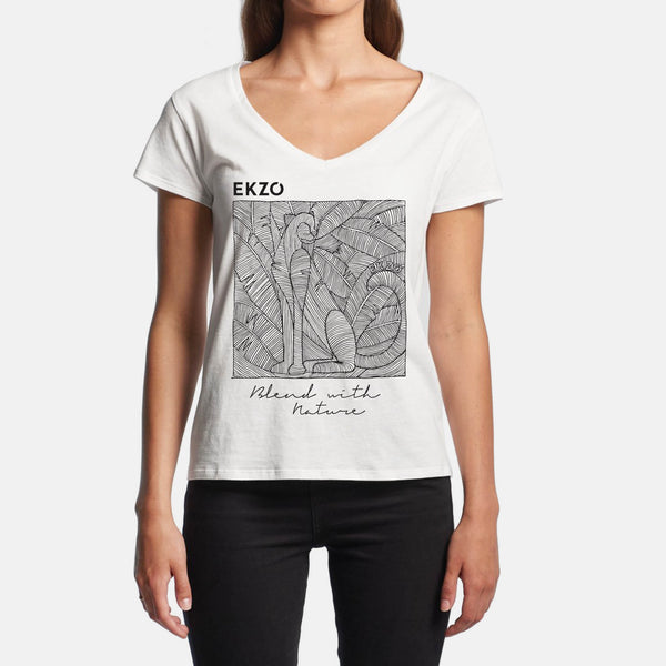 Blend with Nature T-shirt White V Neck