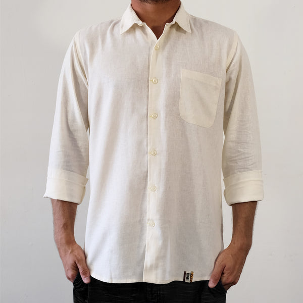 Linen Hemp Button Down Shirt - Off White - EKZO
