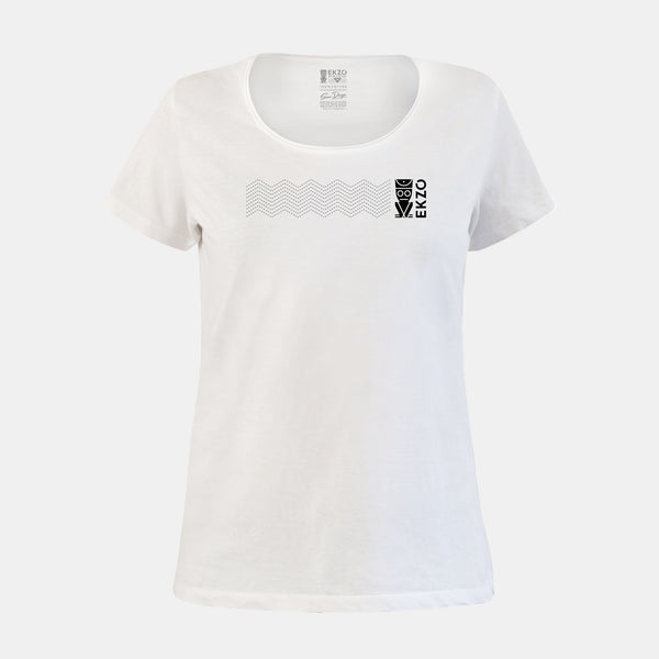 Explorer Tee - Scoop Neck Long wave White - EKZO
