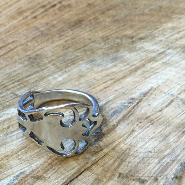 Pickle Me English! Open Silverwork Ring