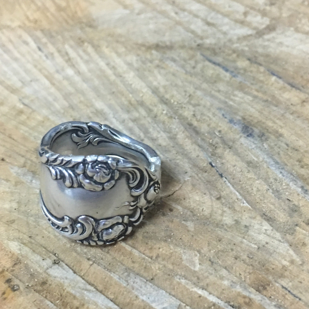 Sterling Spoon Ring Floral Band