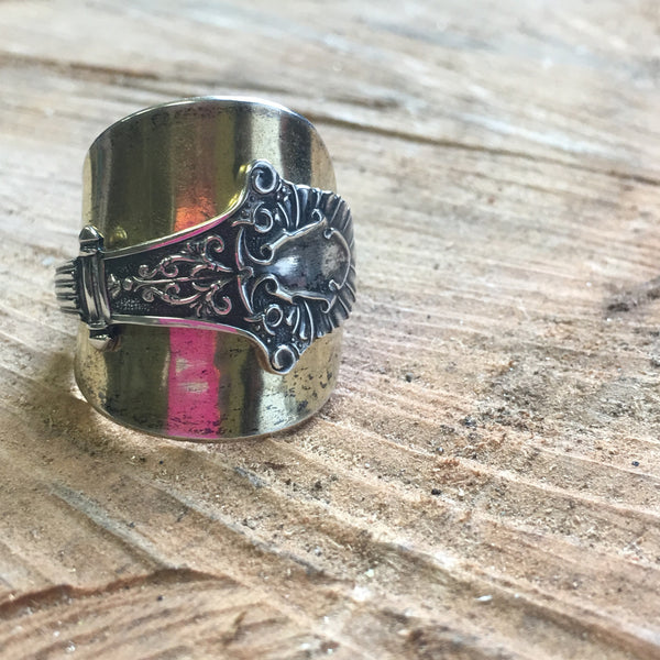 Sterling Coat of Arms Statement Spoon Ring