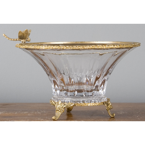 CZECH BOHEMIA CRYSTAL BASIN WITH BRONZE ORMOLU