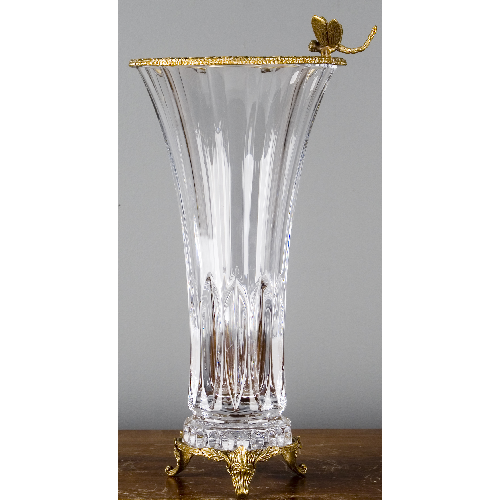 CZECH BOHEMIA CRYSTAL VASE WITH BRONZE ORMOLU