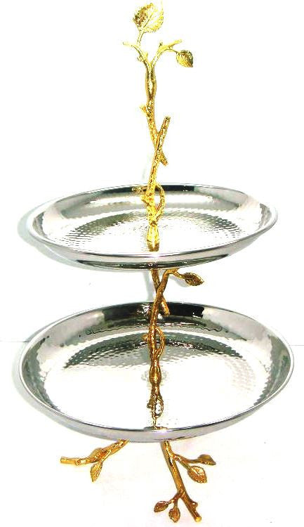 GILT LEAF & HAMMERED STAINLESS STEEL 2-TIER TRAY