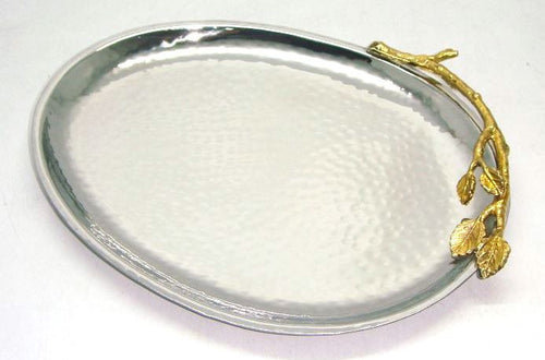 Gilt Leaf & Hammered Stainless Steal Oval Platter