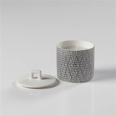 Bergen Weave White Wax Filled Candle Holder - Small