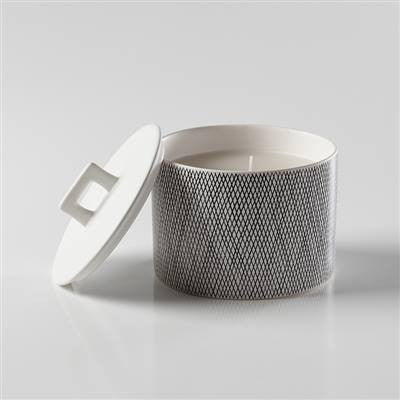 Bergen Weave White Wax Filled Candle Holder - Large