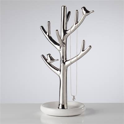 Bird On Branch Ceramic Jewelry Tree - Tall