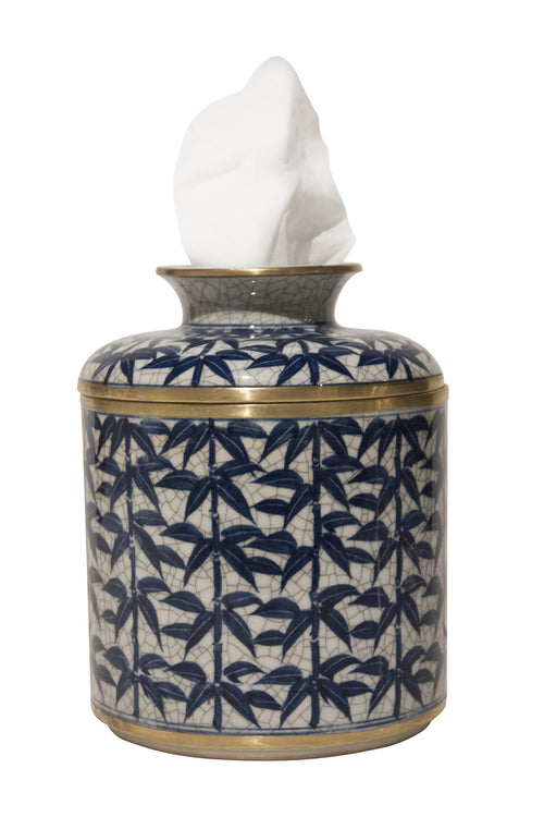 BLUE/WHITE LEAF TISSUE BOX