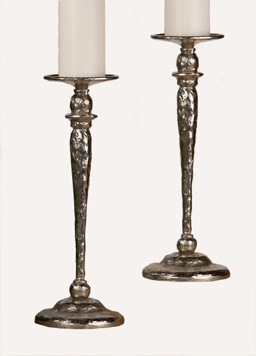 NICKEL HAMM. PILLAR CANDLE HOLDER