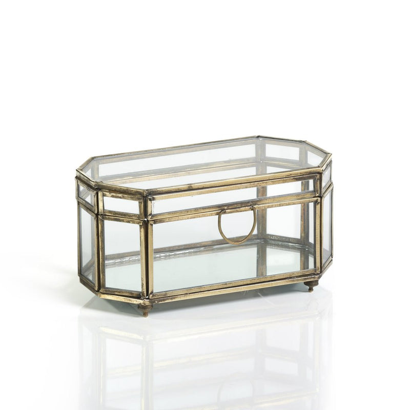 OCTAGONAL GLASS AND IRON BOX