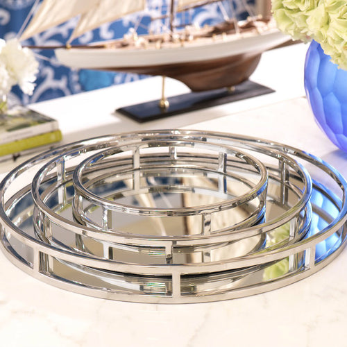 CLARE ROUND MIRRORED TRAY