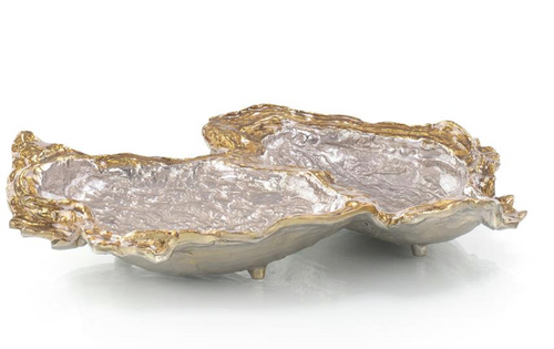 Double Oyster Bowl in Gold and Silver Enamel