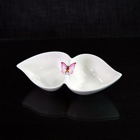 SERVING DBL BOWL PINK BUTTRFLY