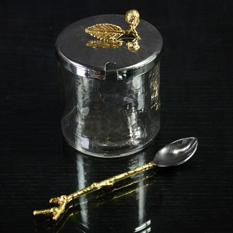 HAMMER GLASS JAR W/SILVER LID+SPOON