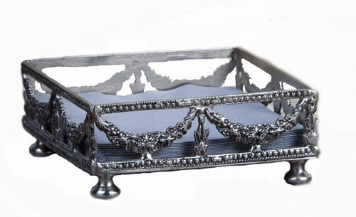 ANTIQUE SILVER GARLAND COCKTAIL NAPKIN HOLDER