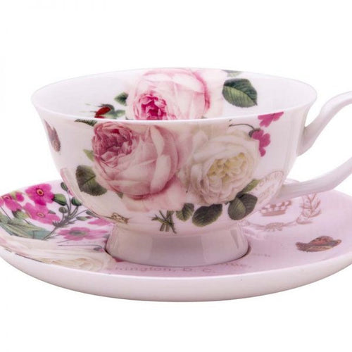 BOTANICAL PINK BUTTERFLY TEA CUPS AND SAUCERS SET, SET OF 4