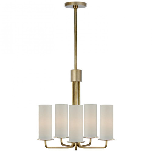 LARABEE SMALL CHANDELIER IN SOFT BRASS WITH CREA