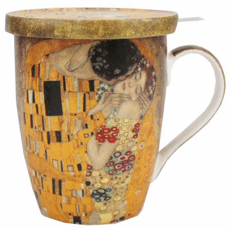 KLIMT THE KISS TEA MUG W/INFUSER AND LID