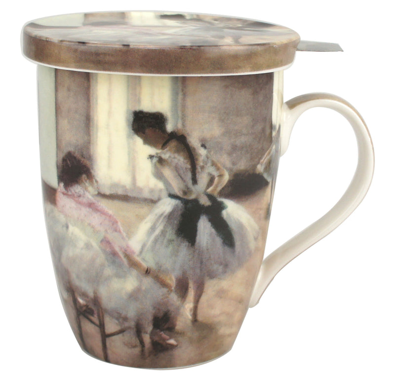 DEGAS THE DANCE LESSON TEA MUG W/ INFUSER AND LID