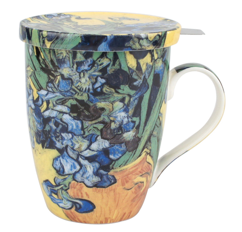 VAN GOGH IRISES TEA MUG W/ INFUSER AND LID