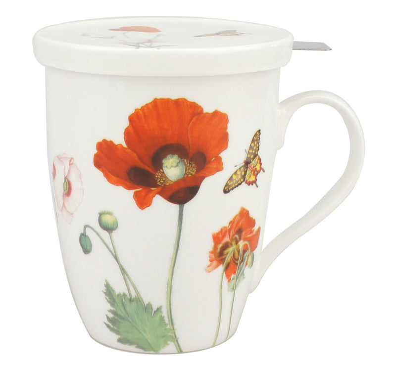 POPPIES TEA MUG W/ INFUSER AND LID