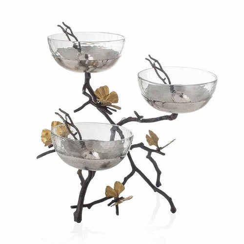 Butterfly Ginkgo Triple Bowl Set w/ Spoons