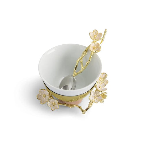 Cherry Blossom Porcelain Small Bowl w/ Spoon